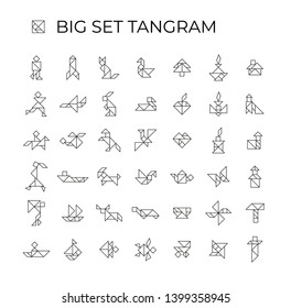 Big set tangram Linear illustration on a white background. 42 isolated icons. Tangram children brain game cutting transformation puzzle vector set.