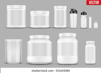 Big Set of Template Sport Nutrition Containers. Plastic Jars and foil package and drink bottle. Vector Illustration isolated on background