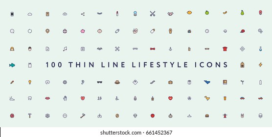 Big Set of Thin Color Line Stroke Miscellaneous Lifestyle Vector Icons.