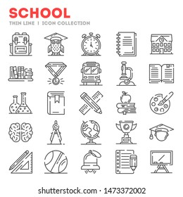 Big set of thin line icons about school, college, university life isolated on white. Outline stationary, educational tools pictograms collection. Vector elements for infographic, web.