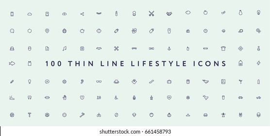 Big Set of Thin Line Stroke Miscellaneous Lifestyle Vector Icons.