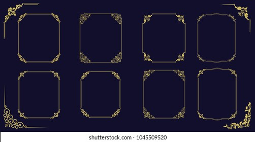 Big set of  thin vintage gold frame for your design. Vintage cover. Place for text. Vintage beautiful rectangular frame. Vector illustration.