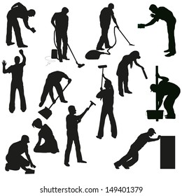 Big set of thirteen professional cleaners black  silhouettes