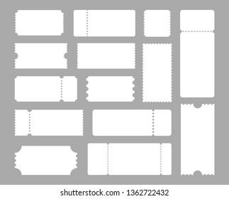 Big set of ticket templates. Concert ticket, coupon. Vector illustration