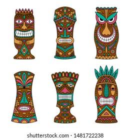 Big set of tiki god on a white background. Tiki idols icon set.