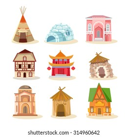 Big set of traditional houses from around the world. Buildings icon set. Vector illustration
