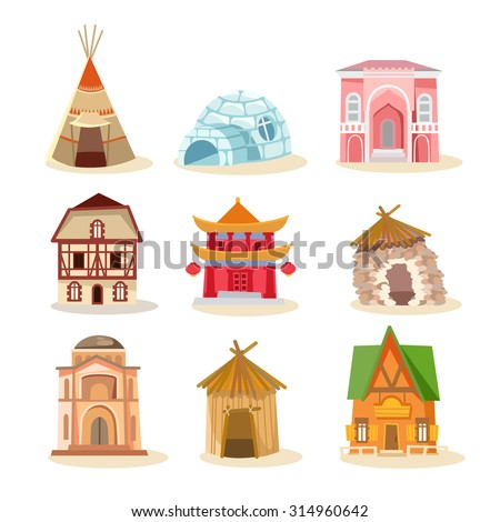 big set traditional houses around world のベクター画像素材