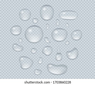 Big set of transparent drops of water. Pure clear water drops. Isolated on transparent background. Realistic style. Vector illustration.
