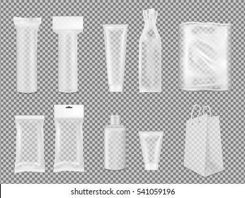 Big set. Transparent empty plastic packaging. Blank foil sachet for cosmetic or medicine.
