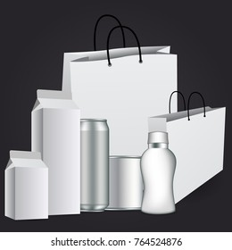 Big Set Of Transparent Empty Plastic Packaging isolated on dark gray background for your design. vector EPS10