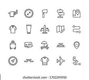 Big set of travel line icons. Vector illustration isolated on a white background. Premium quality symbols. Stroke vector icons for concept or web graphics. Simple thin line signs.