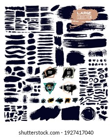 Big Set of trend paint, ink brush strokes, brushes, lines, grungy. Dirty artistic design elements, boxes, frames. Collection of vector illustration. Isolated on white background. Freehand drawing.