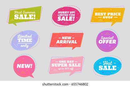 Big Set of Trendy Sale Geometric Bubbles. Flat Shapes. Bright Retro Background with Memphis Style Pattern. Hot Sale Tag, Special Offer Label, Best Price Badge, New Summer Collection.