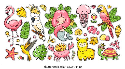 Big set of tropical summer stickers with gorgeous mermaid, cute jellyfish, pink flamingo, alpaca, colibri, cockatoo, macaw, turtle, crab in the crown. Kawaii cartoon characters. Vector illustrations.