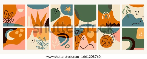 Big Set of Twelve abstract backgrounds. Hand drawn various shapes and doodle objects. Contemporary modern trendy Vector illustrations. Every background is isolated. Pastel colors