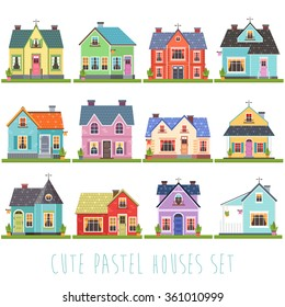 big set of twelve vector illustration of cute colorful houses. vector flat buildings illustration