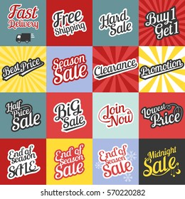 Big set of typographic for sale and promotion in retro style with sunburst background, for website, poster, banner in business