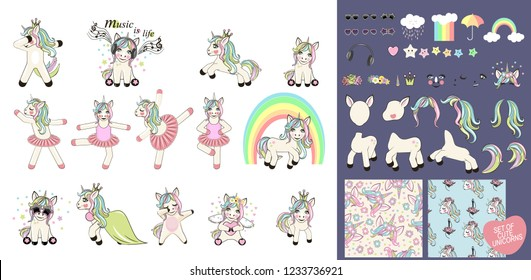 Big set with unicorns and unicorn parts for design. Set of Cute Cartoon Unicorn ballerina with pattern and decorations.