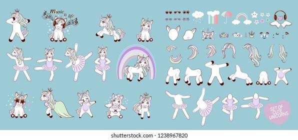 Big set with unicorns and unicorn parts for design. Set of Cute Cartoon Unicorn ballerina with decorations.