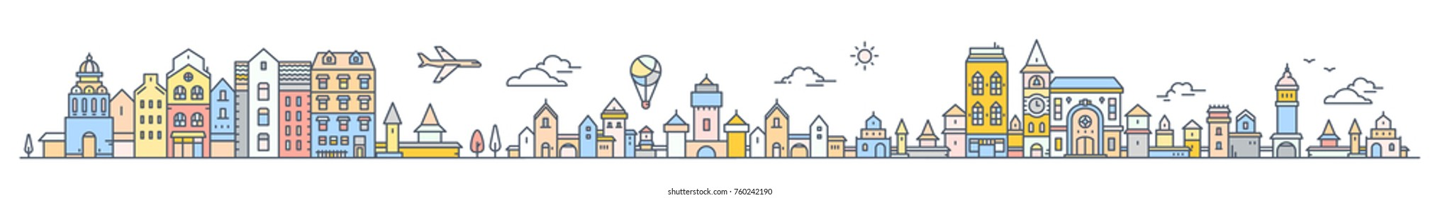 Big set of urban european city with tree, cloud, air balloon and air plane. Vector colorful illustration of panorama of city landscape on white background. Thin line art design for horizontal banner