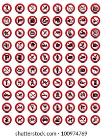 Big set of useful and unusual prohibited signs on a black background 2-vector