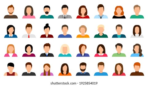 Big set of user avatar. People avatar profile icons. Male and female faces. Men and women portraits. Unknown or anonymous person. Characters collection. Vector illustration.