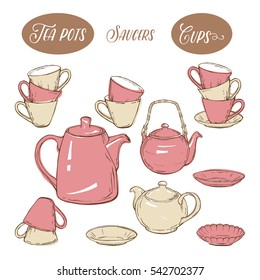 Big set utensil includes cups, teapots and plates, on white background, hand-drawn vector illustration