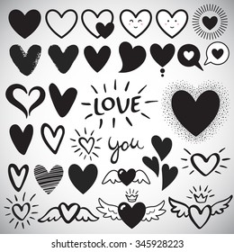 Big set of various heart templates - simple flat design hearts with cute faces, brush drawn with rough, uneven edge, speech bubbles, doodle hearts. Lettering LOVE and YOU. Different hearts collection.