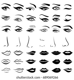 Big set of various human eyes, noses and lips, vector design elements isolated over white