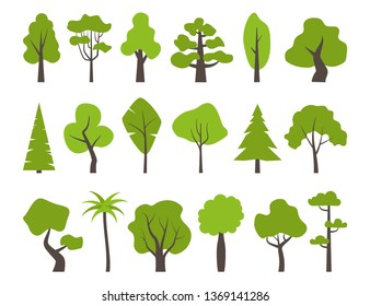 Big set of various trees. Tree icons set in a modern flat style. Pine, spruce, oak, birch, trunk, aspen, alder, poplar, chestnut, palm apple tree Vector illustration
