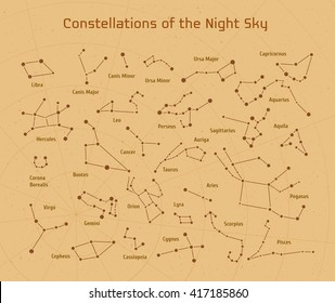 Big set of vector 28 constellations. Collection of zodiac constellations of the night sky.