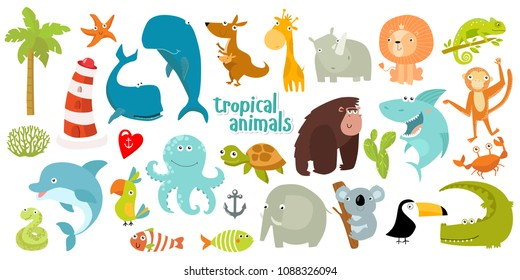 Big set of vector animals. Tropical animals. cartoon animals. lion, giraffe, gorilla, crab, shark, snake, elephant, rhinoceros, parrot, koala, kangaroo, crocodile, turtle