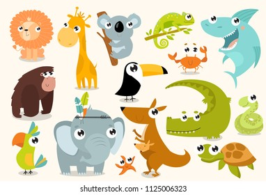 Big set of vector animals. Tropical animals. cartoon animals. lion, giraffe, gorilla, crab, shark, snake, elephant, parrot, koala, kangaroo, crocodile, turtle