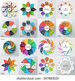 Big set of vector arrows, octagons, circles and other elements for infographic. Template for cycle diagram, graph, presentation. Business concept with 8 options, parts, steps or processes.