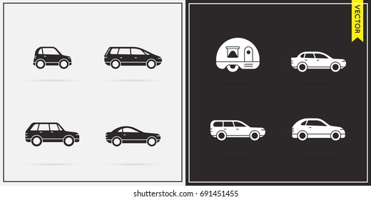 Big Set of Vector Car Icons in Black and White