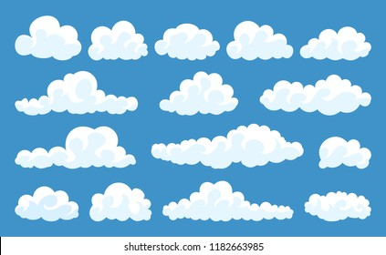 Big set of vector cartoon clouds. 15 different cloud.