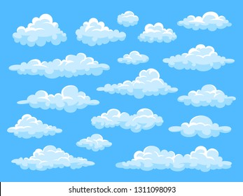 Big set of vector cartoon clouds. 17 different clouds.