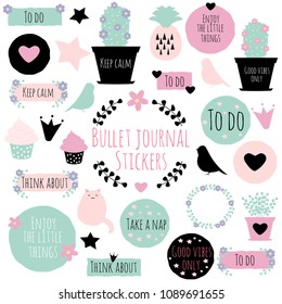 Big set of vector cliparts with phrases, flowers and wreaths for scrapbooking, bullet journals, stickers, patches, greeting cards, etc.
