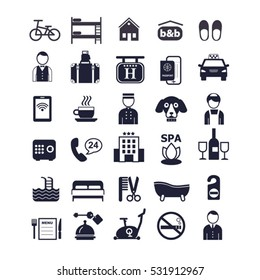big set of vector color icons for hotel service
