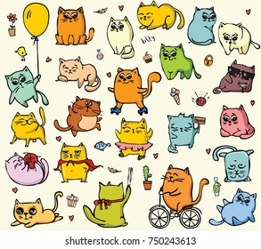 Big set of vector cute funny cats for greeting card design, t-shirt print, inspiration poster.