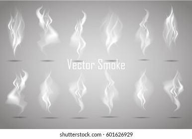 big set vector delicate cigarette smoke on transparent background. Isolated smoke vector illustration.