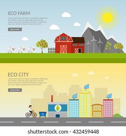 Big set of vector farm elements and eco town