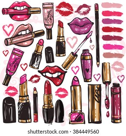 Big set of vector fashion sketches. Hand drawn glossy lipstick, lip gloss, balm, lip pencil, lipliner. Isolated elements on white background