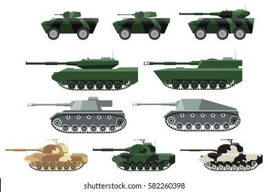 Big set a vector in flat style of military heavy machinery. Tanks in a desert, Arctic and summer camouflage. Tanks of World War II. Modern Armoured personnel carriers.
