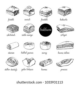 Big set of vector hand drawn illustrations with turkish dessert Baklava. Assorted sweets black outline isolated on white. Mix of different pastry products for menu, card, flyer, poster design