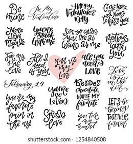 Big set of vector hand drawn inspirational love quotes and phrases for Valentine's Day. Vector illustration. Perfect for postcard design