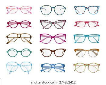 Big set of vector isolated colorful spectacles