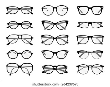 Big set of vector isolated spectacles in black and white