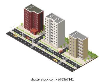 Big set Vector isometric illustration city street house facades landscape.