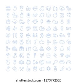 Big set vector line icons meal, seafood, fruit, vegetables and fast food in flat design with elements for mobile concepts and web. Collection modern infographic logo and pictogram.
